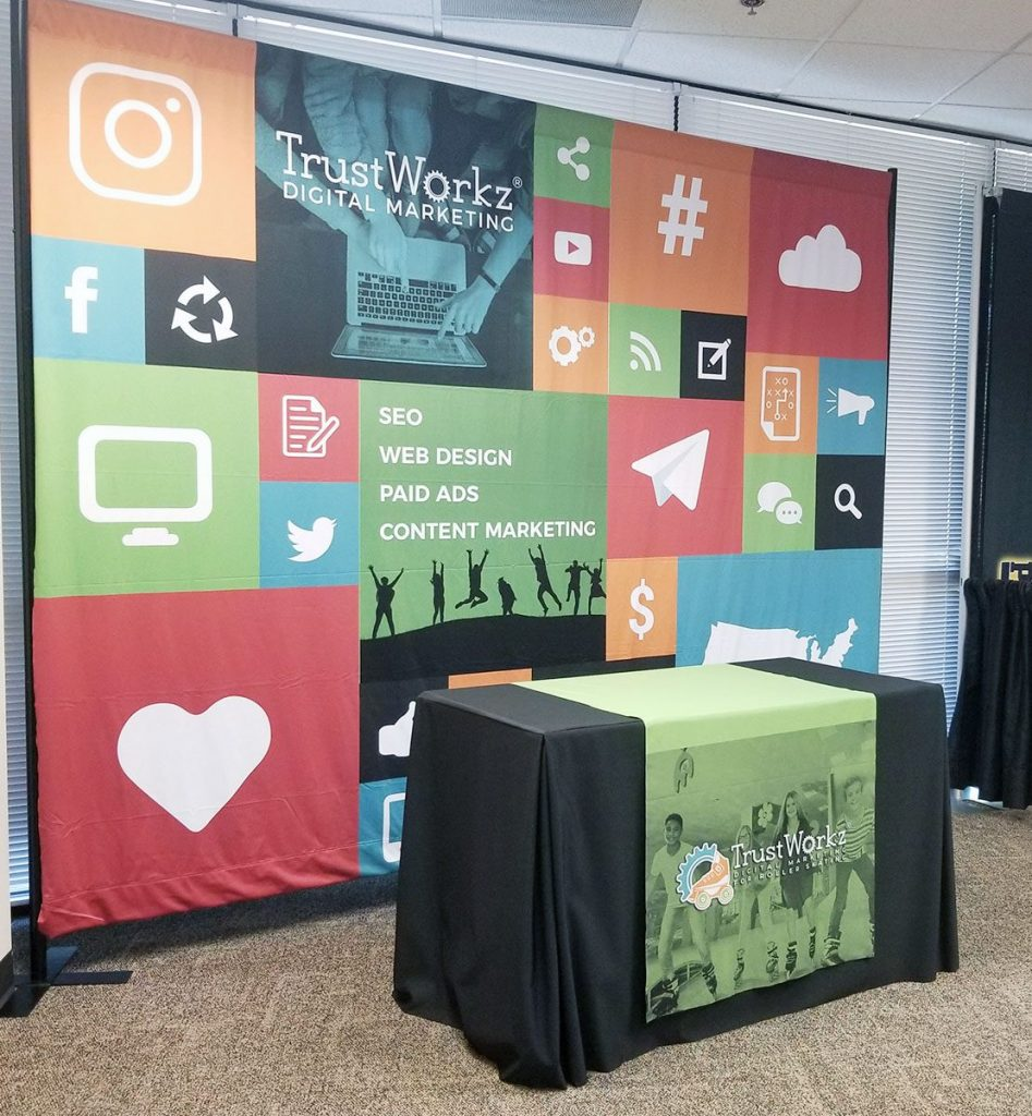 Conference printed Backdrop and table runner