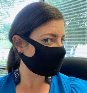 sleek mask black side view woman