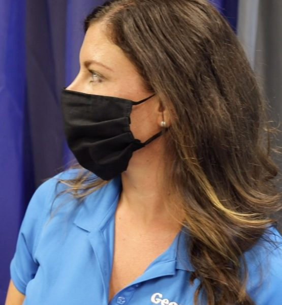 Pleated Fabric Mask in Natural Cotton
