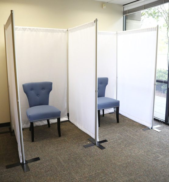 fabric inline cube kit in use waiting room