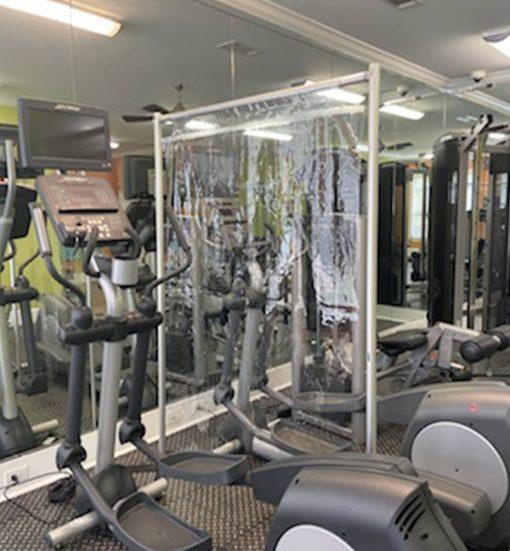 vinyl wall divider at the gym