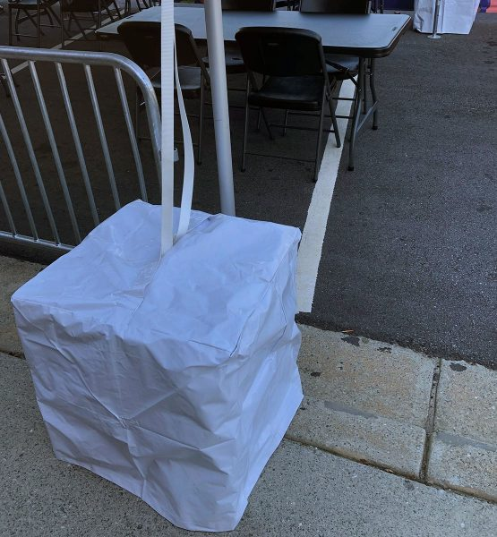 Vinyl Tent Block Cover In Use